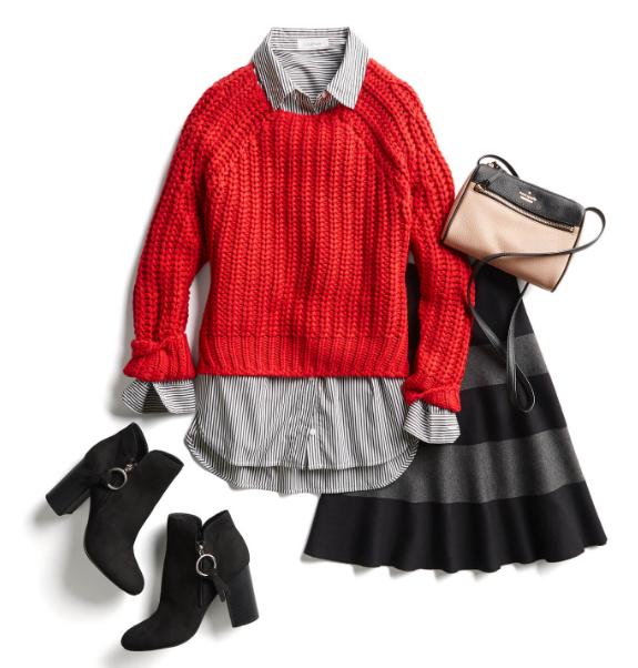 красный свитер в комплекте с нейтральными вещами
