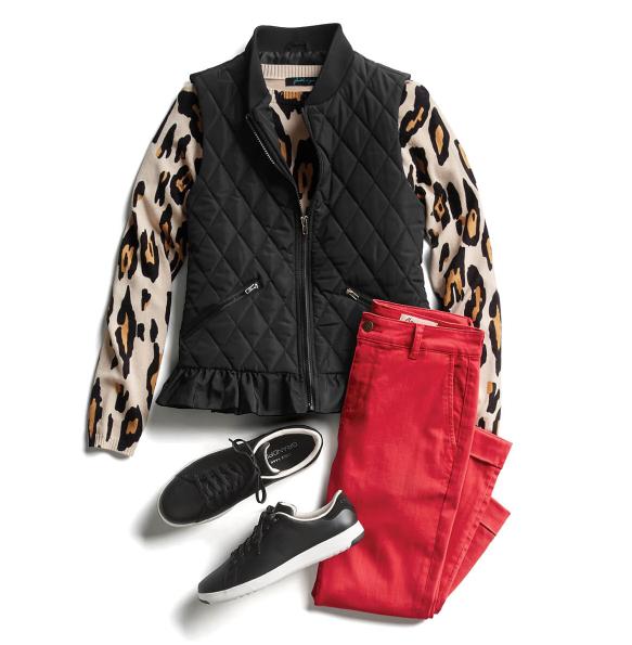 Красный с леопардовым принтом