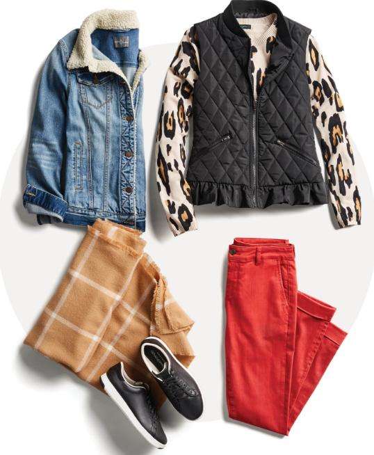 Как одеваться зимой: пример с яркими джинсами