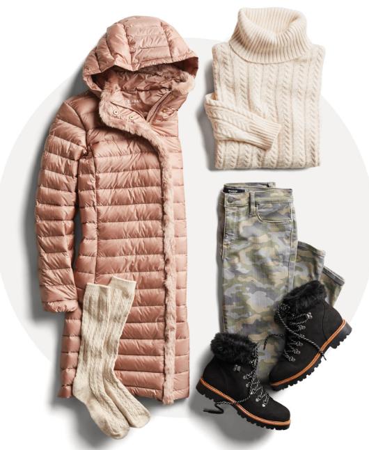 зимний стиль: камуфляж и пуховик