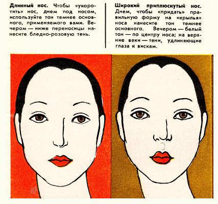 коррекция макияжем формы носа