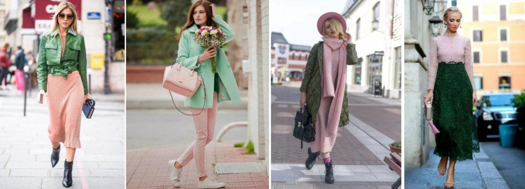 Сочетание розового и зеленого в женской одежде