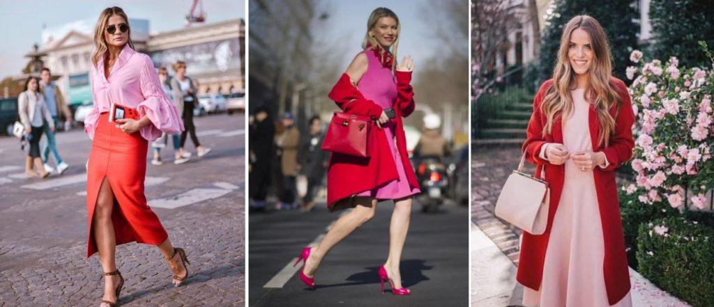 Как сочетать розовый цвет с красным