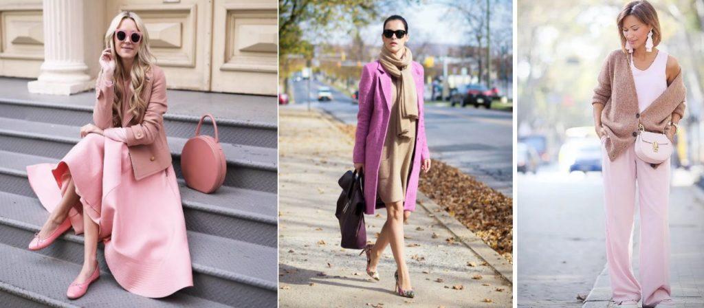 сочетания розового и бежевого в женской одежде