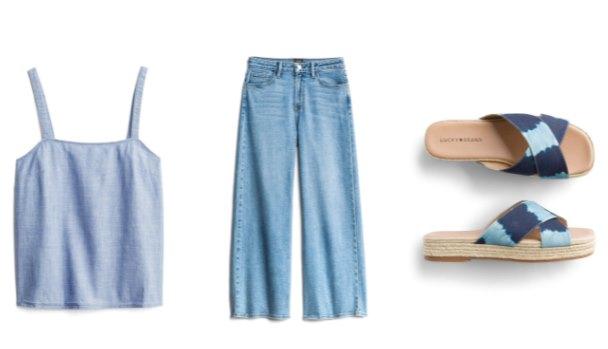 джинсовые кюлоты с топом шамбре