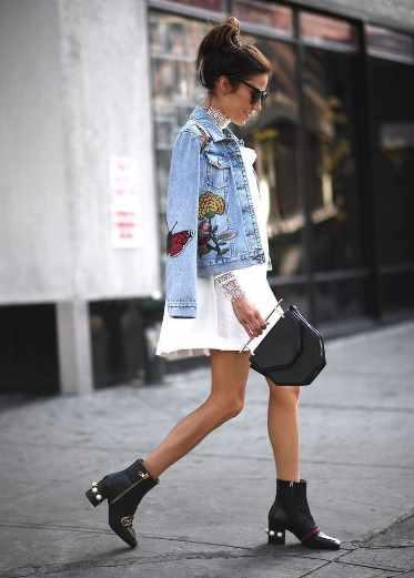 платье и джинсовая куртка с вышивкой