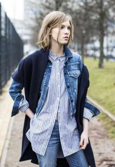 джинсовка с рубашкой в полоску