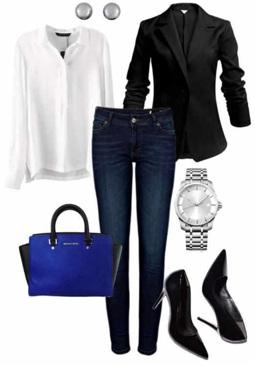 с чем носить джинсы: строгий стиль